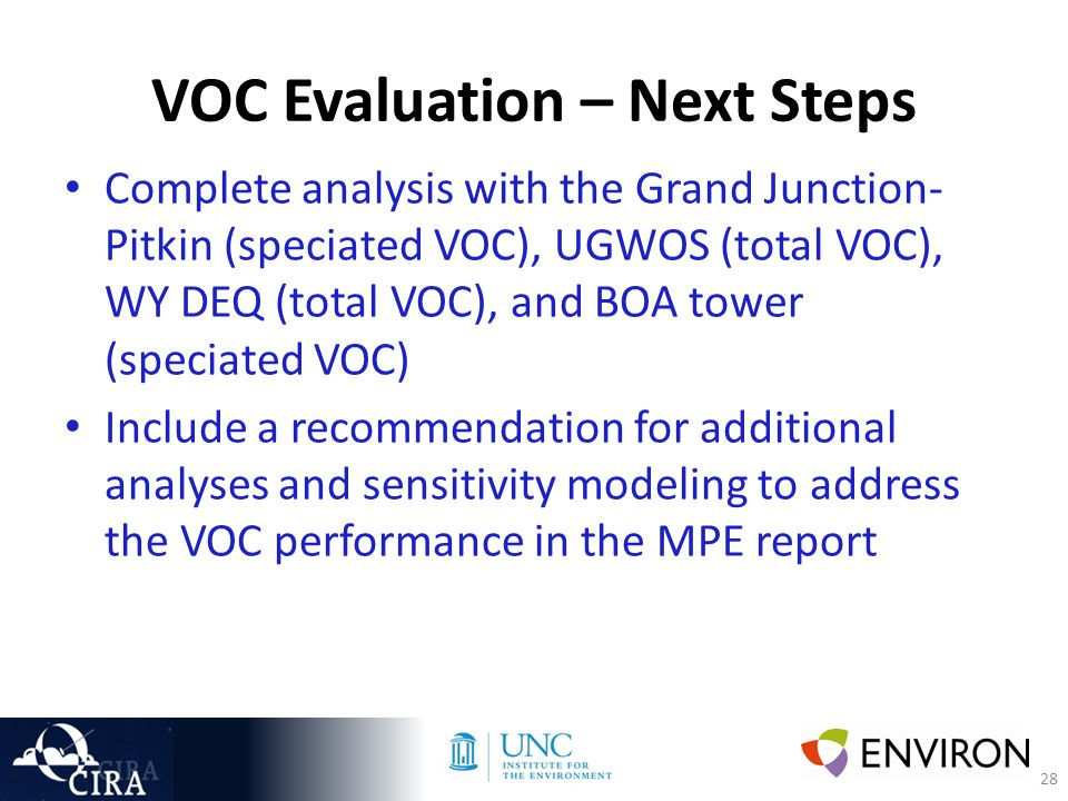 28 VOC Evaluation – Next Steps Complete analysis with the Grand Junction- Pitkin (speciated VOC), UGWOS (total VOC), WY DEQ (total VOC), and BOA tower (speciated VOC) Include a recommendation for additional analyses and sensitivity modeling to address the VOC performance in the MPE report