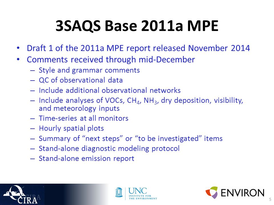 5 3SAQS Base 2011a MPE Draft 1 of the 2011a MPE report released November 2014 Comments received through mid-December – Style and grammar comments – QC of observational data – Include additional observational networks – Include analyses of VOCs, CH 4, NH 3, dry deposition, visibility, and meteorology inputs – Time-series at all monitors – Hourly spatial plots – Summary of next steps or to be investigated items – Stand-alone diagnostic modeling protocol – Stand-alone emission report