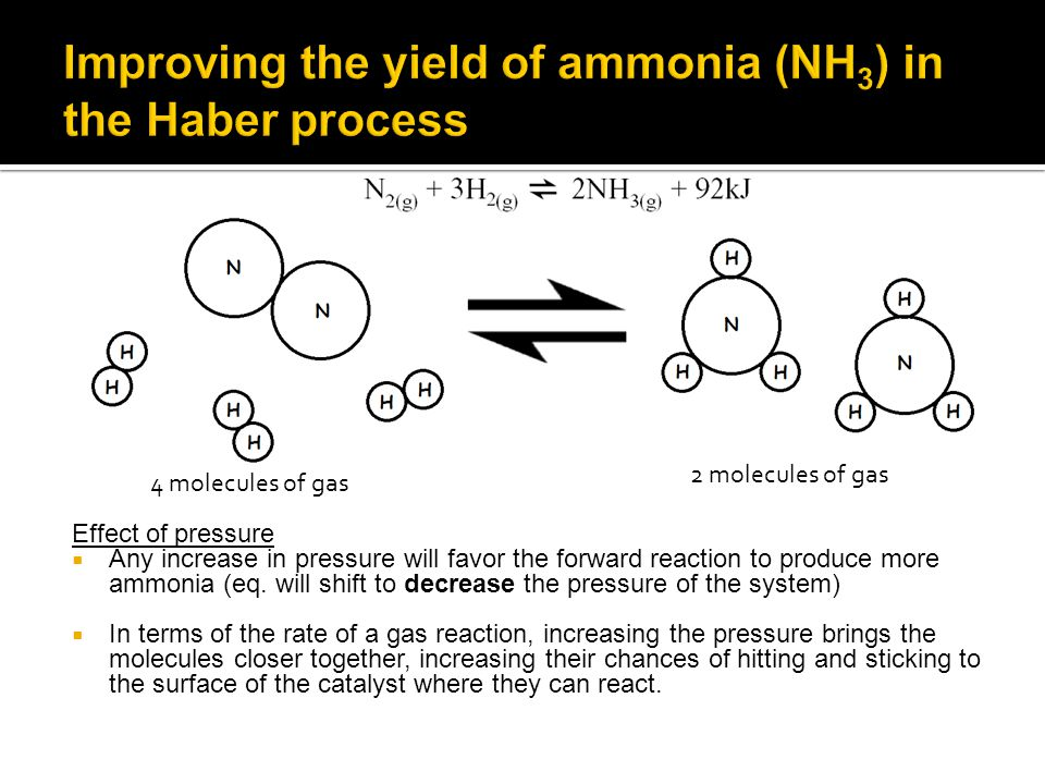 Effect of pressure  Any increase in pressure will favor the forward reaction to produce more ammonia (eq.