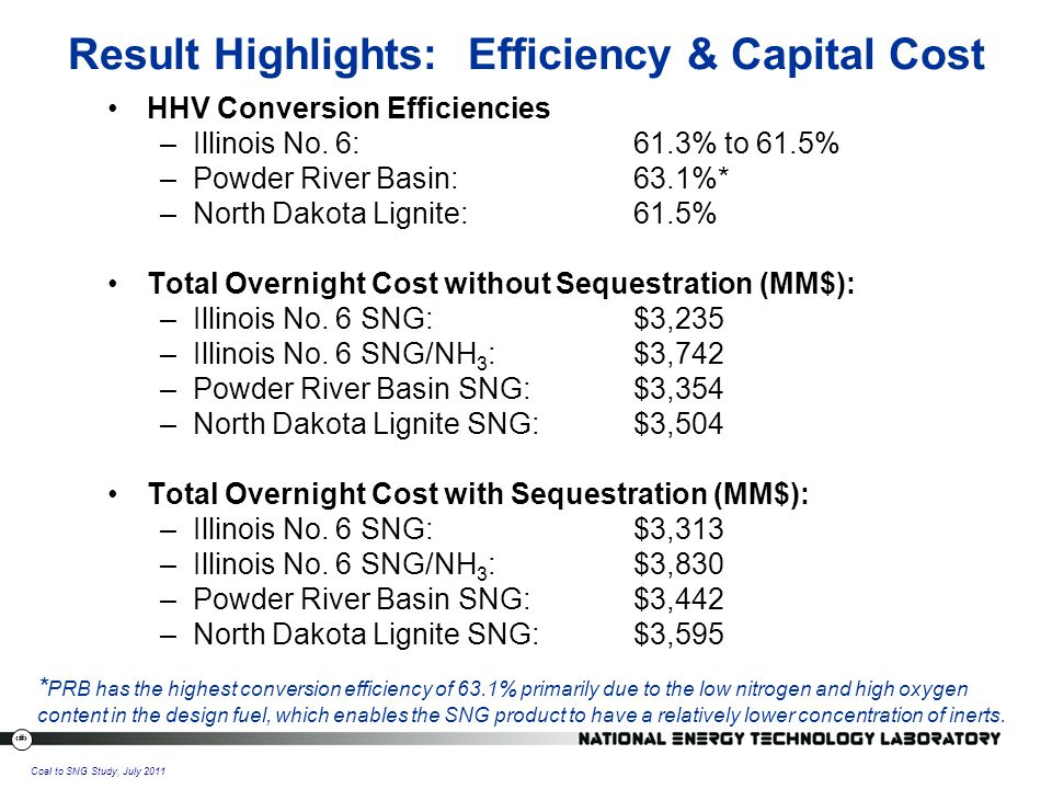 28 Coal to SNG Study, July 2011 Result Highlights: Efficiency & Capital Cost HHV Conversion Efficiencies –Illinois No.