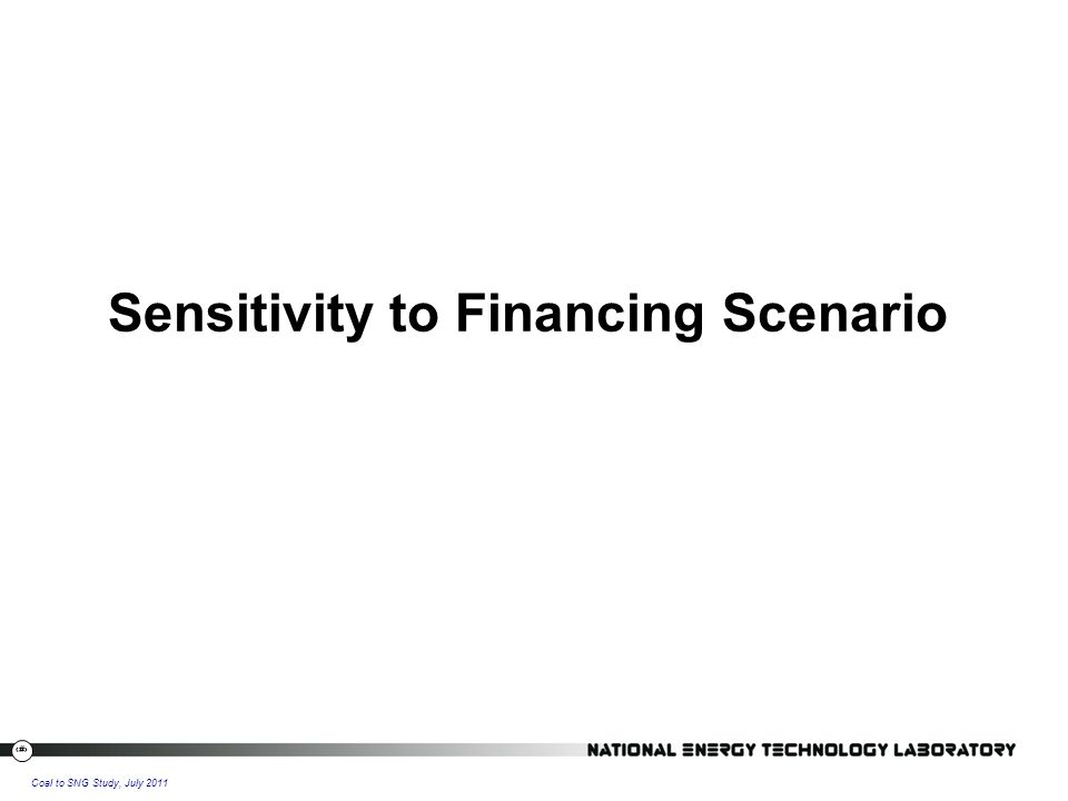34 Coal to SNG Study, July 2011 Sensitivity to Financing Scenario