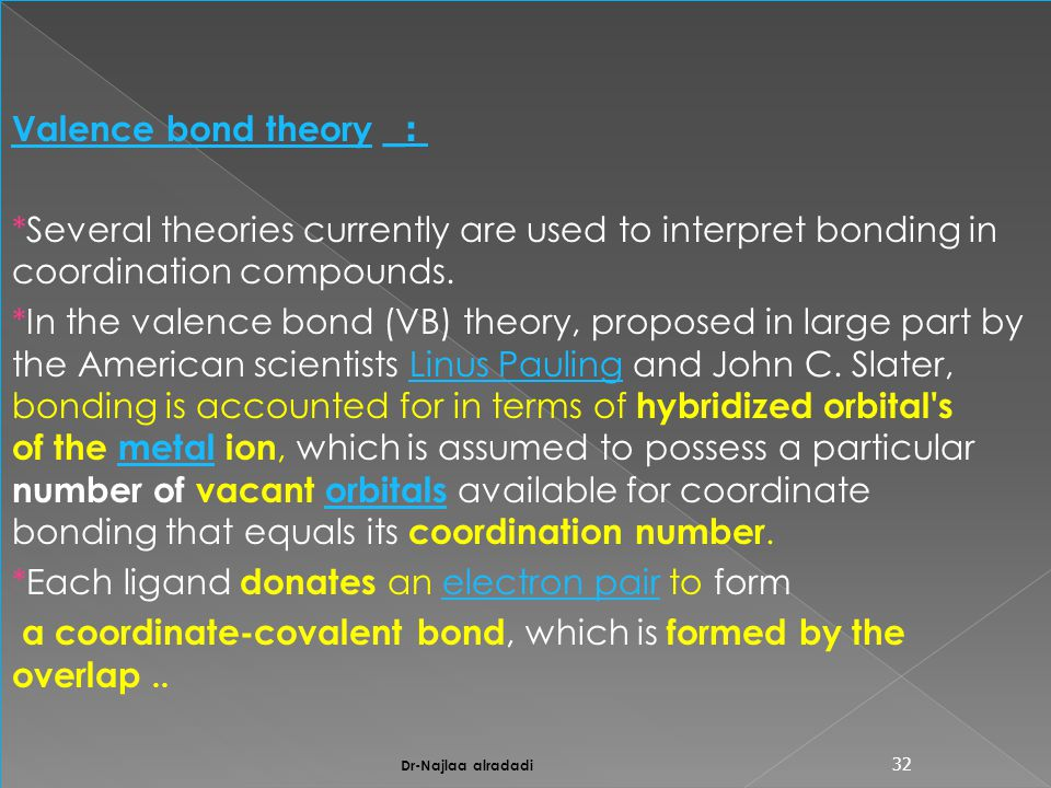 :_Valence bond theory *Several theories currently are used to interpret bonding in coordination compounds.