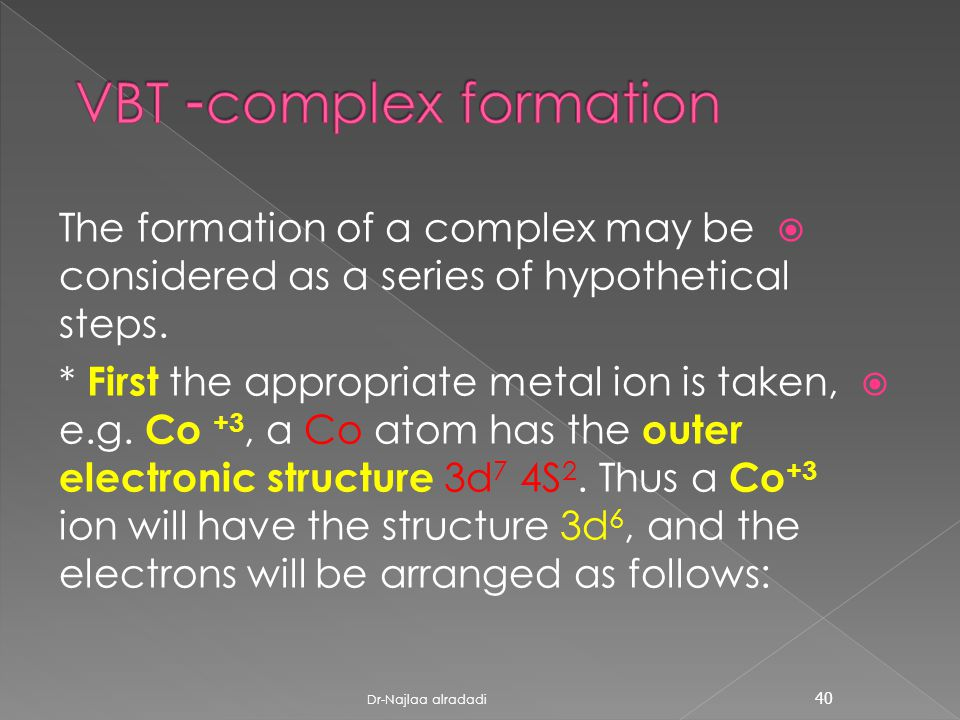  The formation of a complex may be considered as a series of hypothetical steps.