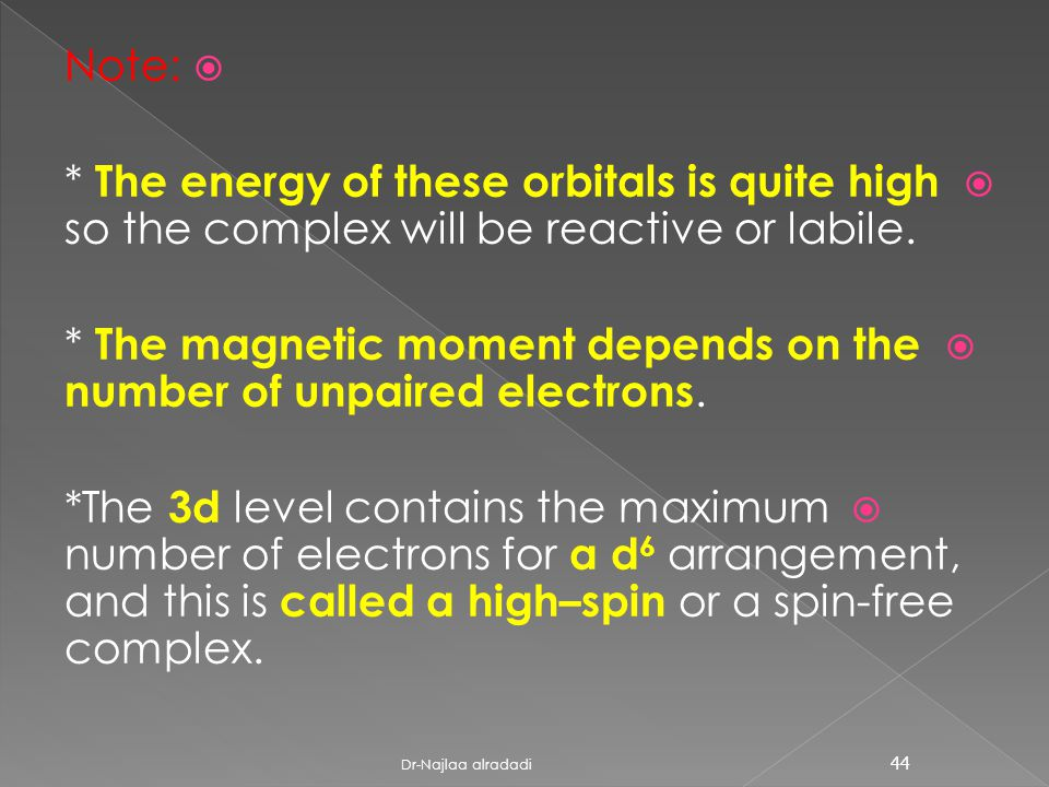  Note:  * The energy of these orbitals is quite high so the complex will be reactive or labile.