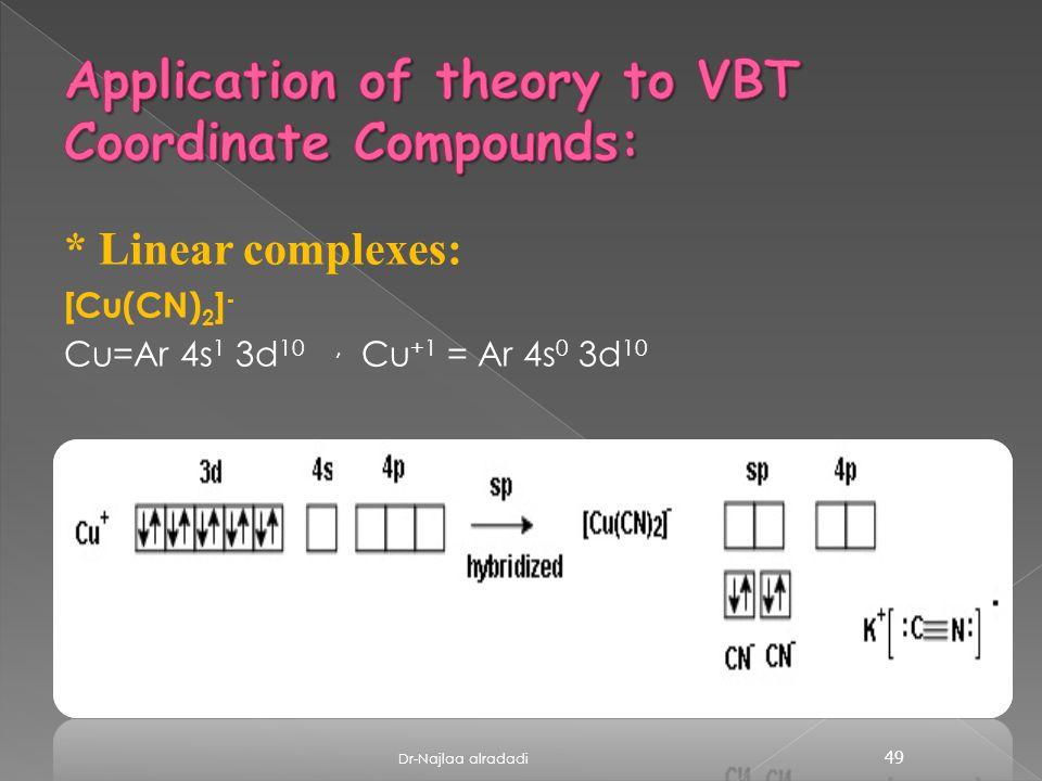 * Linear complexes: [Cu(CN) 2 ] - Cu=Ar 4s 1 3d 10, Cu +1 = Ar 4s 0 3d 10 49 Dr-Najlaa alradadi