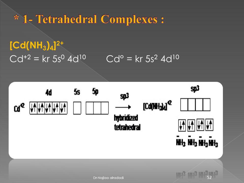 [Cd(NH 3 ) 4 ] 2+ Cd° = kr 5s 2 4d 10 Cd +2 = kr 5s 0 4d 10 52 Dr-Najlaa alradadi