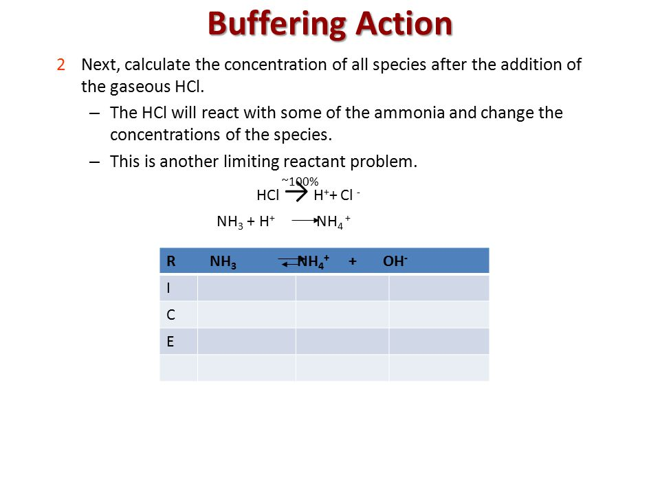 NH 3 + H + NH 4 + Buffering Action 2Next, calculate the concentration of all species after the addition of the gaseous HCl.