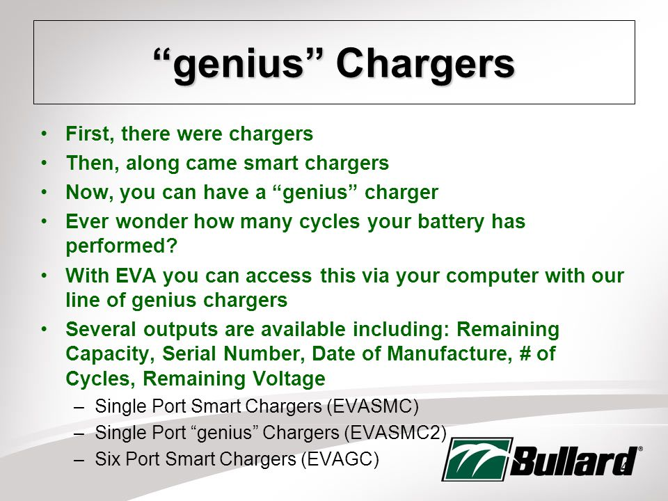 14 genius Chargers First, there were chargers Then, along came smart chargers Now, you can have a genius charger Ever wonder how many cycles your battery has performed.