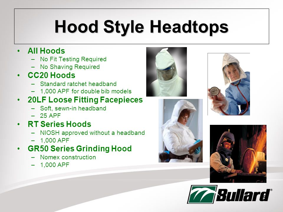 15 Hood Style Headtops All Hoods –No Fit Testing Required –No Shaving Required CC20 Hoods –Standard ratchet headband –1,000 APF for double bib models 20LF Loose Fitting Facepieces –Soft, sewn-in headband –25 APF RT Series Hoods –NIOSH approved without a headband –1,000 APF GR50 Series Grinding Hood –Nomex construction –1,000 APF