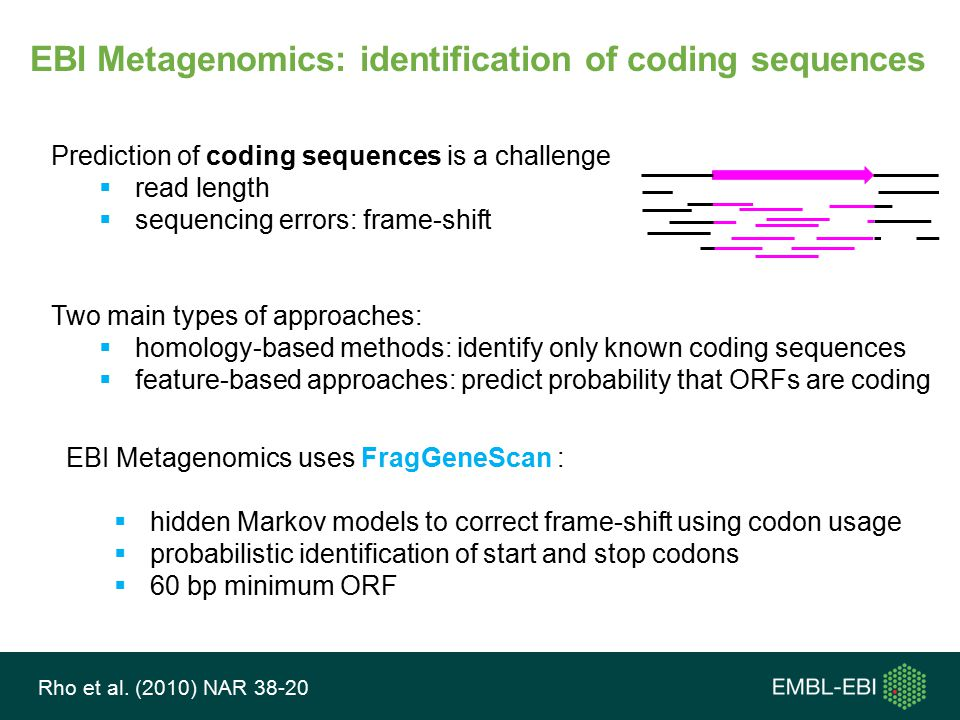 EBI Metagenomics: identification of coding sequences Prediction of coding sequences is a challenge  read length  sequencing errors: frame-shift Two main types of approaches:  homology-based methods: identify only known coding sequences  feature-based approaches: predict probability that ORFs are coding EBI Metagenomics uses FragGeneScan :  hidden Markov models to correct frame-shift using codon usage  probabilistic identification of start and stop codons  60 bp minimum ORF Rho et al.