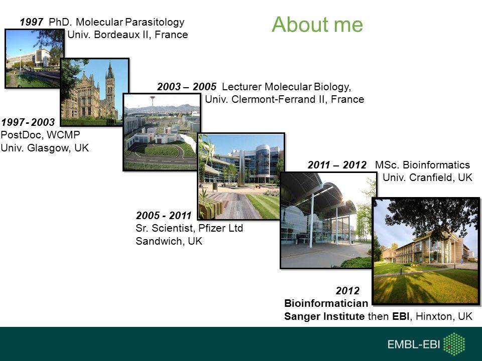 About me 1997 PhD.Molecular Parasitology Univ. Bordeaux II, France 1997 - 2003 PostDoc, WCMP Univ.