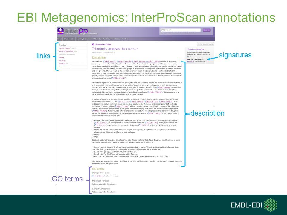 EBI Metagenomics: InterProScan annotations signatures links GO terms description