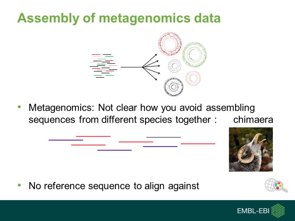 Assembly of metagenomics data Metagenomics: Not clear how you avoid assembling sequences from different species together : chimaera No reference sequence to align against