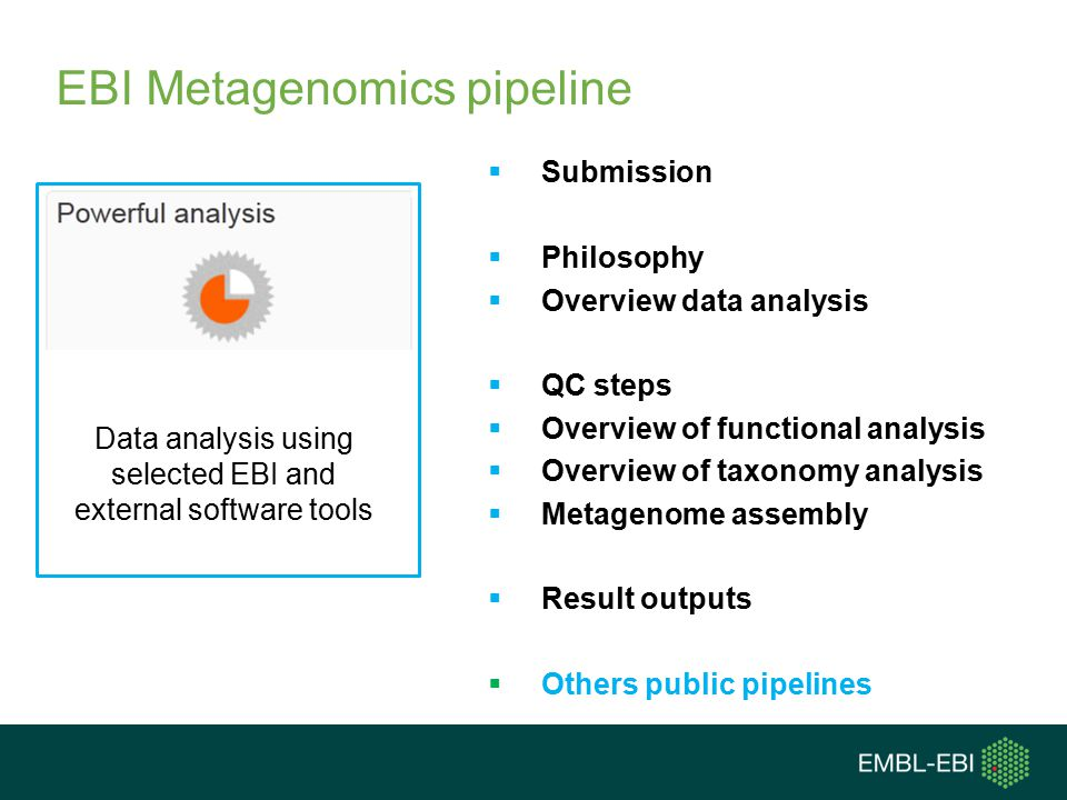  Submission  Philosophy  Overview data analysis  QC steps  Overview of functional analysis  Overview of taxonomy analysis  Metagenome assembly  Result outputs  Others public pipelines Data analysis using selected EBI and external software tools EBI Metagenomics pipeline