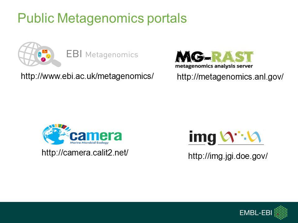 http://www.ebi.ac.uk/metagenomics/ http://metagenomics.anl.gov/ http://camera.calit2.net/ http://img.jgi.doe.gov/ Public Metagenomics portals