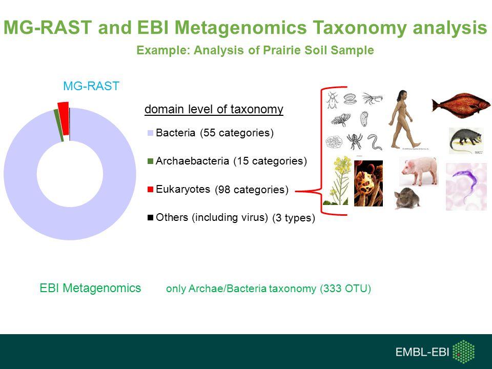 MG-RAST and EBI Metagenomics Taxonomy analysis MG-RAST EBI Metagenomics only Archae/Bacteria taxonomy (333 OTU) (55 categories) (15 categories) (98 categories) (3 types) Example: Analysis of Prairie Soil Sample domain level of taxonomy