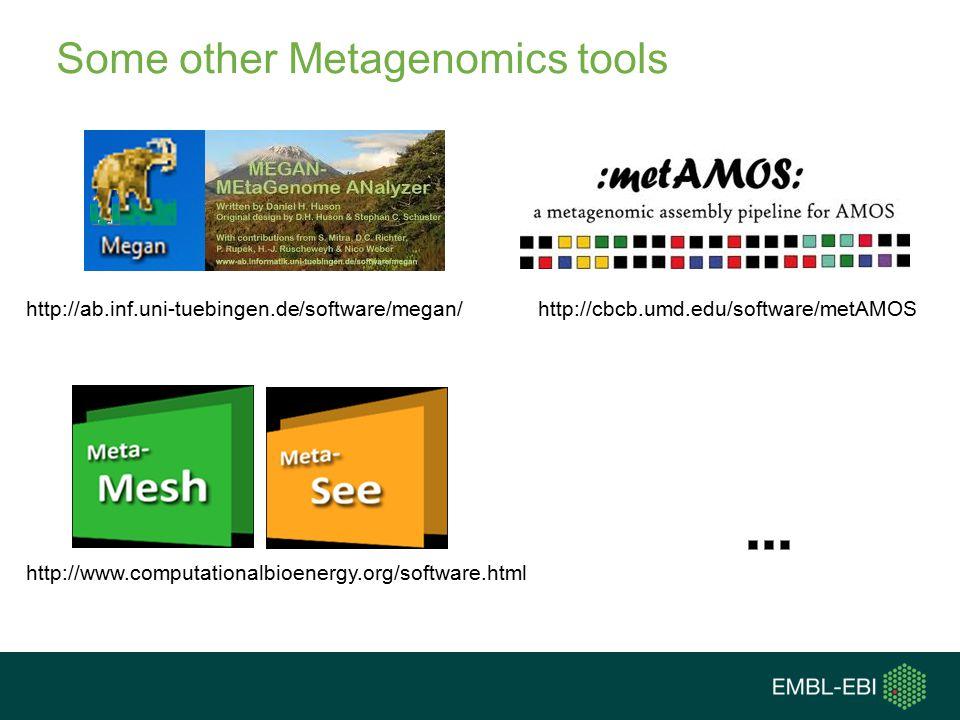 Some other Metagenomics tools http://www.computationalbioenergy.org/software.html http://ab.inf.uni-tuebingen.de/software/megan/http://cbcb.umd.edu/software/metAMOS