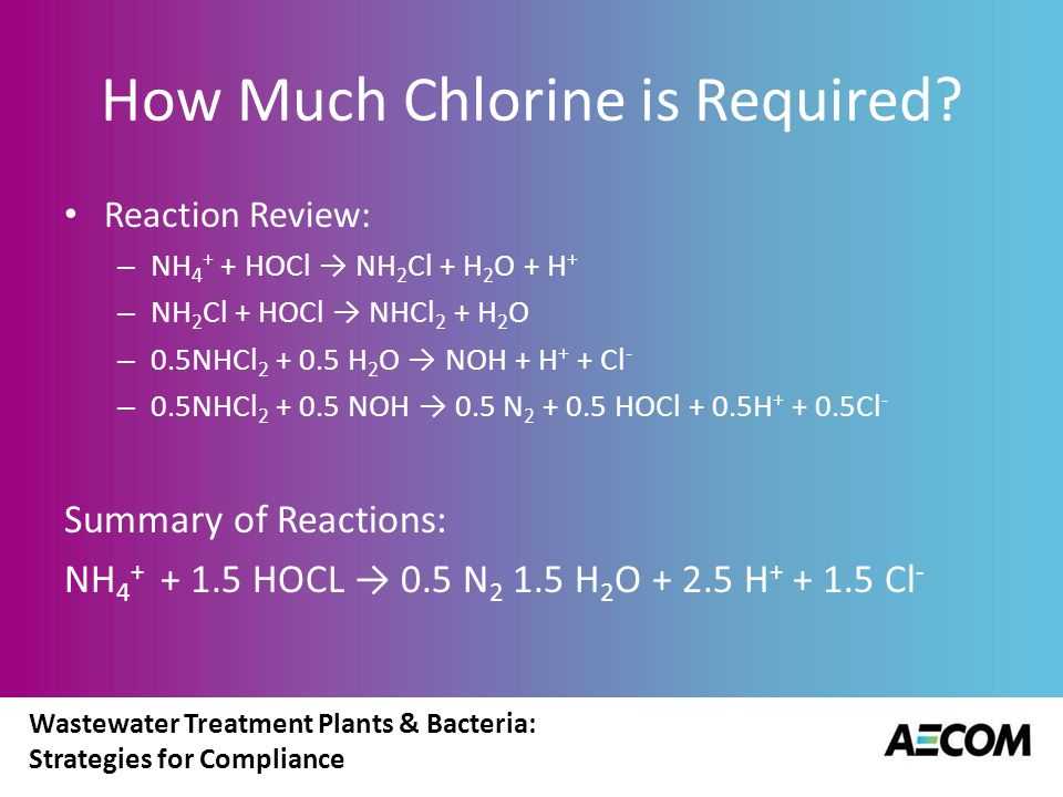 Wastewater Treatment Plants & Bacteria: Strategies for Compliance How Much Chlorine is Required? Reaction Review: – NH 4 + + HOCl → NH 2 Cl + H 2 O +