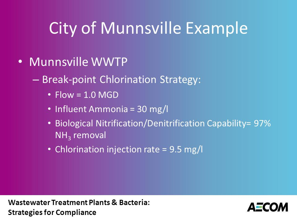 Wastewater Treatment Plants & Bacteria: Strategies for Compliance City of Munnsville Example Munnsville WWTP – Break-point Chlorination Strategy: Flow