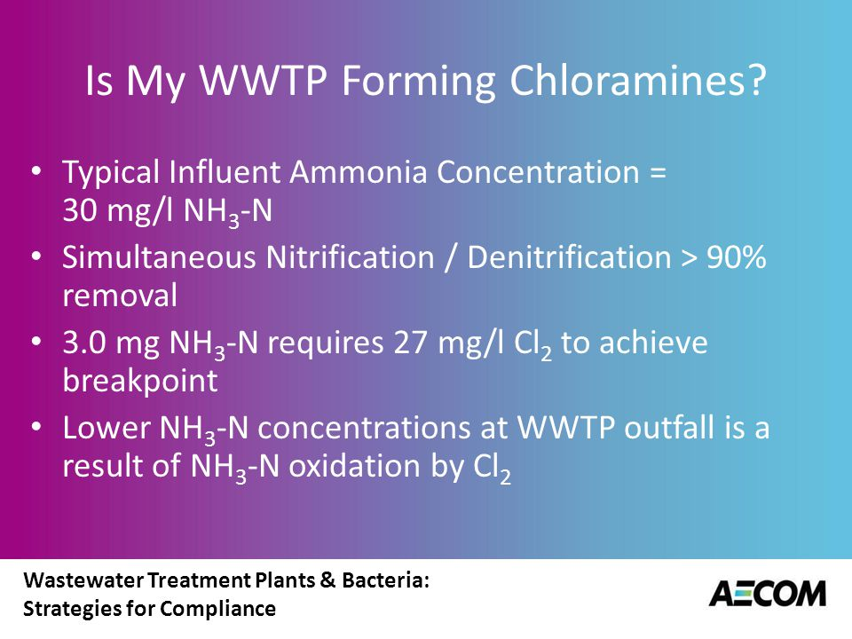 Wastewater Treatment Plants & Bacteria: Strategies for Compliance Is My WWTP Forming Chloramines? Typical Influent Ammonia Concentration = 30 mg/l NH