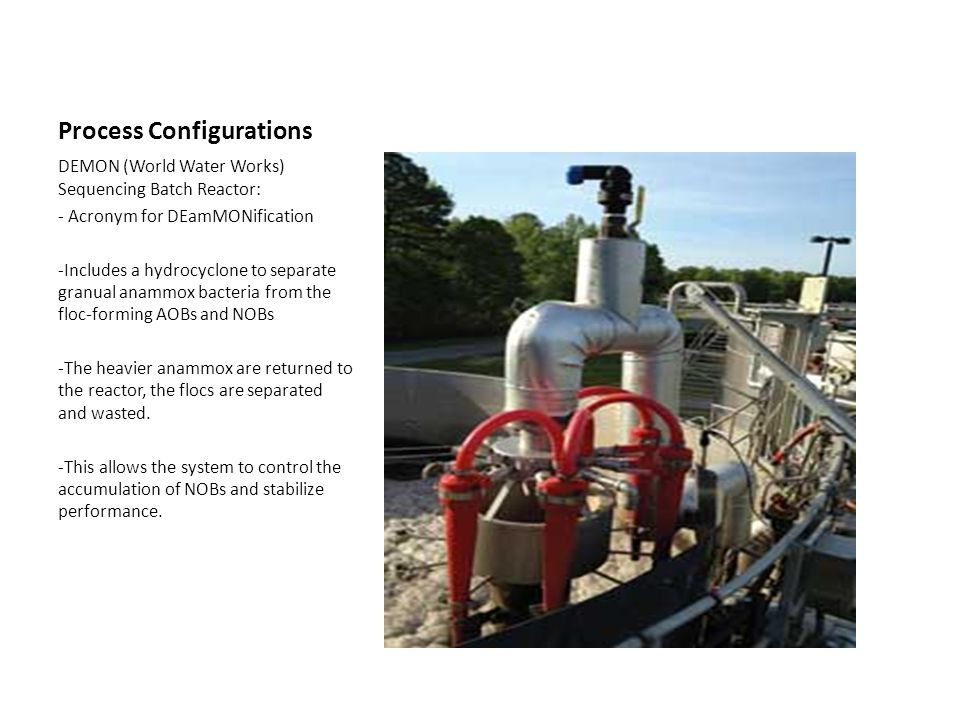 Process Configurations DEMON (World Water Works) Sequencing Batch Reactor: - Acronym for DEamMONification -Includes a hydrocyclone to separate granual anammox bacteria from the floc-forming AOBs and NOBs -The heavier anammox are returned to the reactor, the flocs are separated and wasted.