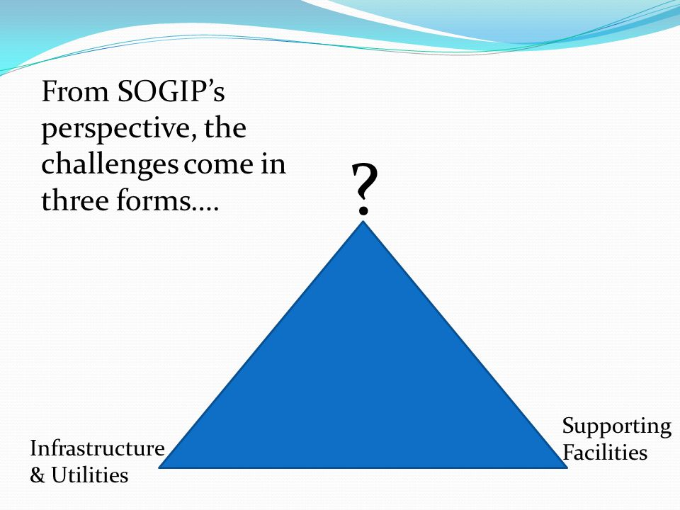 From SOGIP's perspective, the challenges come in three forms….