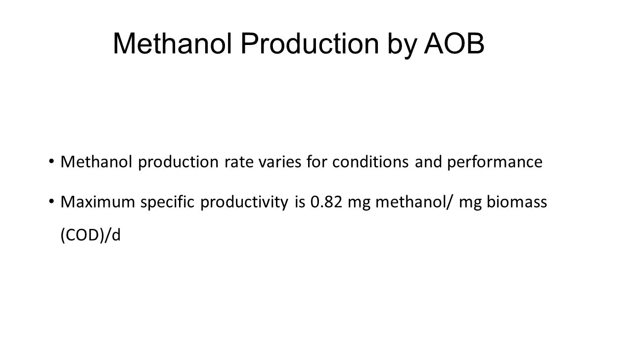 Methanol Production by AOB Methanol production rate varies for conditions and performance Maximum specific productivity is 0.82 mg methanol/ mg biomas
