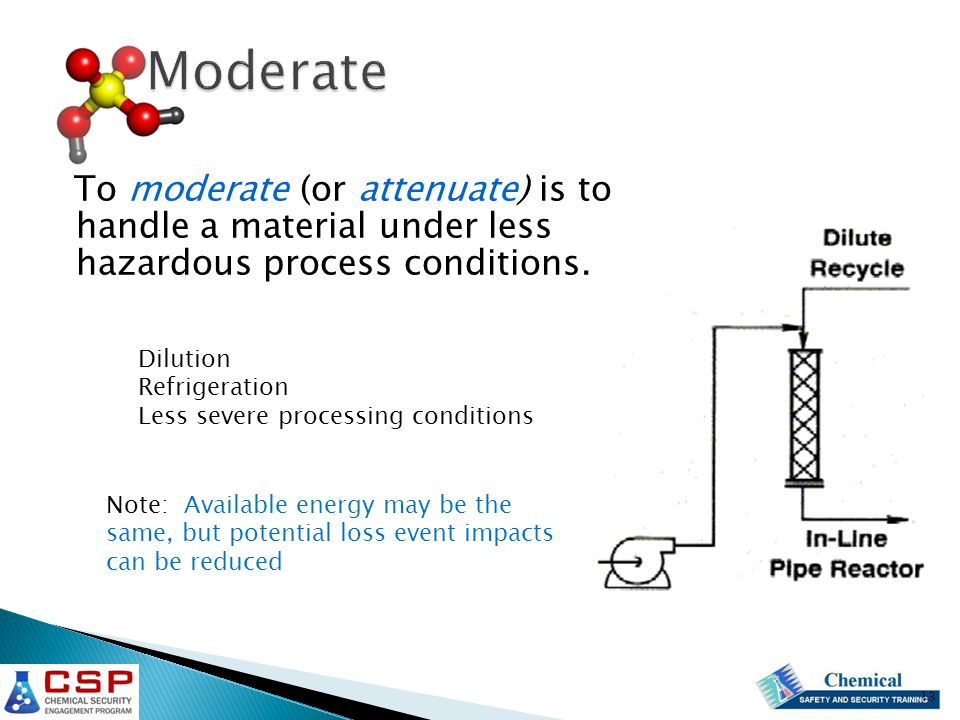 To moderate (or attenuate) is to handle a material under less hazardous process conditions.
