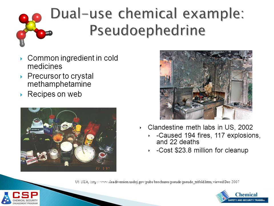 Dual-use chemical example: Pseudoephedrine  Common ingredient in cold medicines  Precursor to crystal methamphetamine  Recipes on web US DEA, http://www.deadiversion.usdoj.gov/pubs/brochures/pseudo/pseudo_trifold.htm, viewed Dec 2007 Illicit Methamphetamine Laboratory ‣ Clandestine meth labs in US, 2002 ‣ -Caused 194 fires, 117 explosions, and 22 deaths ‣ -Cost $23.8 million for cleanup 48