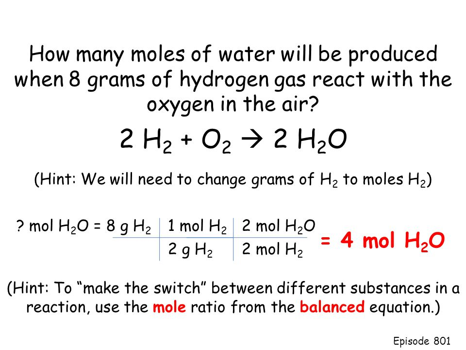 """How many moles of water will be produced when 8 grams of hydrogen gas react with the oxygen in the air? (Hint: To """"make the switch"""" between different"""