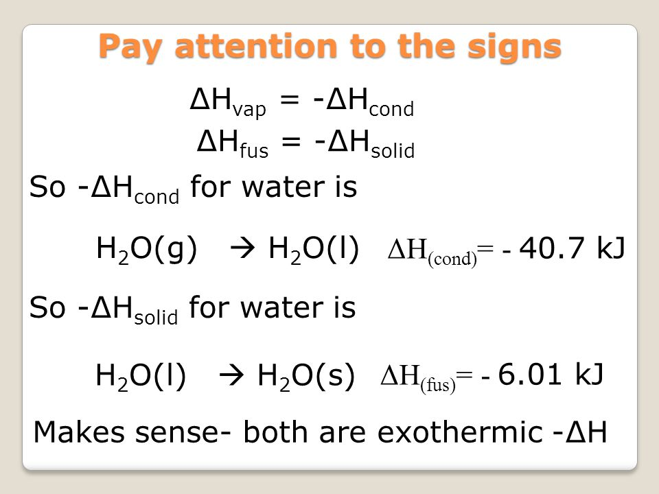 ∆H vap = -∆H cond Pay attention to the signs ∆H fus = -∆H solid H 2 O(g)  H 2 O(l) ΔH (cond) = - 40.7 kJ So -∆H cond for water is So -∆H solid for wa