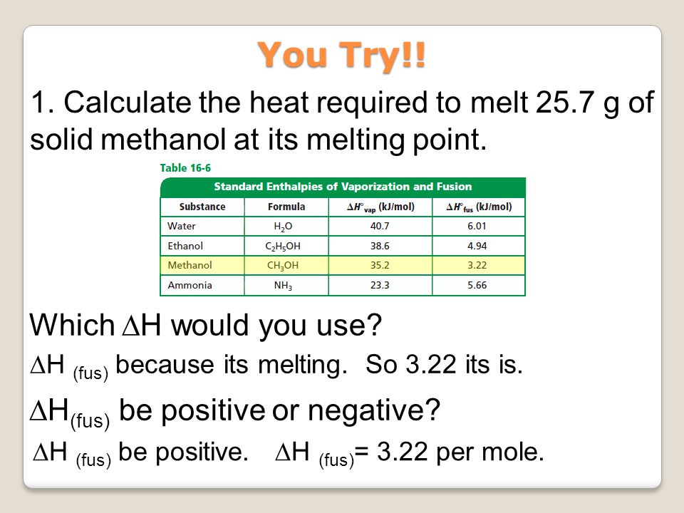 1. Calculate the heat required to melt 25.7 g of solid methanol at its melting point. You Try!! ∆H (fus) because its melting. So 3.22 its is. Which ∆H