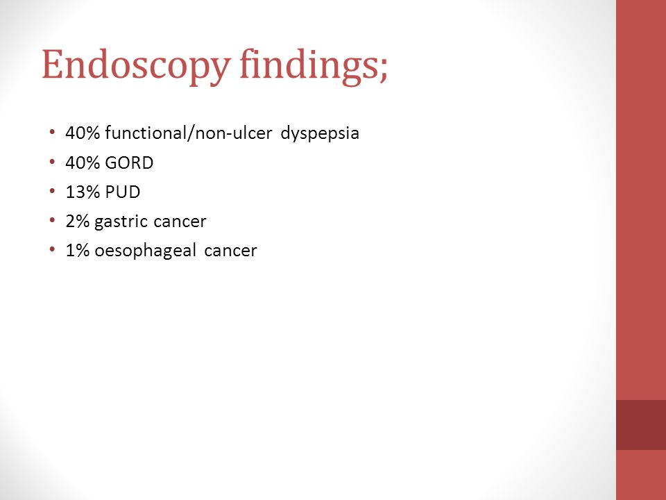 Endoscopy findings; 40% functional/non-ulcer dyspepsia 40% GORD 13% PUD 2% gastric cancer 1% oesophageal cancer