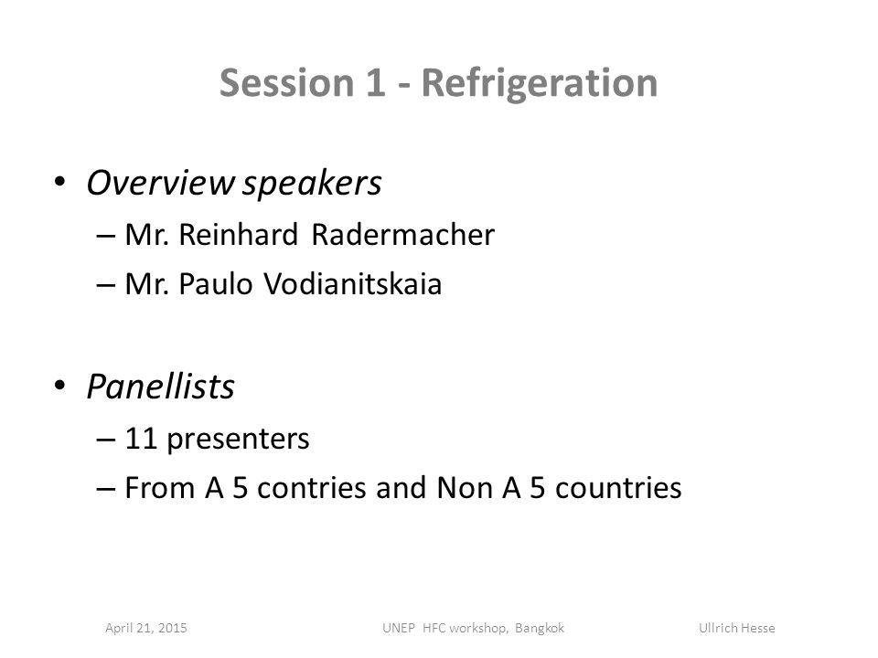 Session 1 - Refrigeration April 21, 2015 Overview speakers – Mr. Reinhard Radermacher – Mr. Paulo Vodianitskaia Panellists – 11 presenters – From A 5