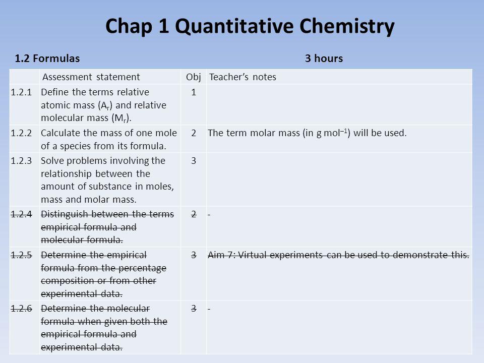 Chap 1 Quantitative Chemistry 1 1.2 Formulas3 hours Assessment statementObjTeacher's notes 1.2.1Define the terms relative atomic mass (A r ) and relative molecular mass (M r ).
