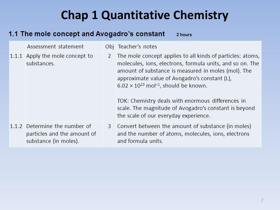 Chap 1 Quantitative Chemistry 7 Assessment statementObjTeacher's notes 1.1.1Apply the mole concept to substances.