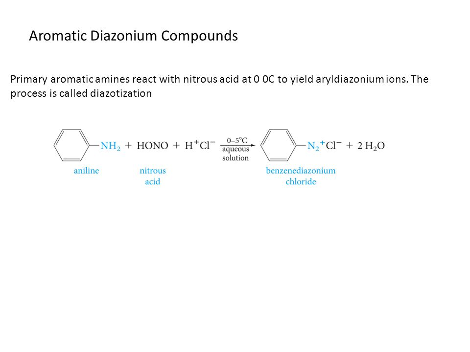 Aromatic Diazonium Compounds Primary aromatic amines react with nitrous acid at 0 0C to yield aryldiazonium ions.