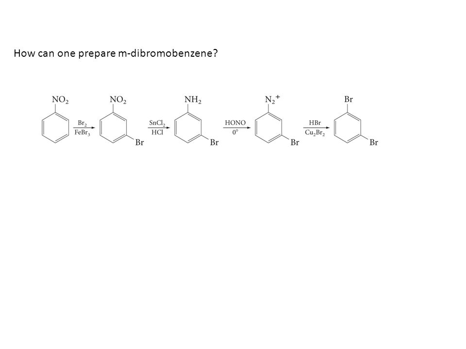 How can one prepare m-dibromobenzene?