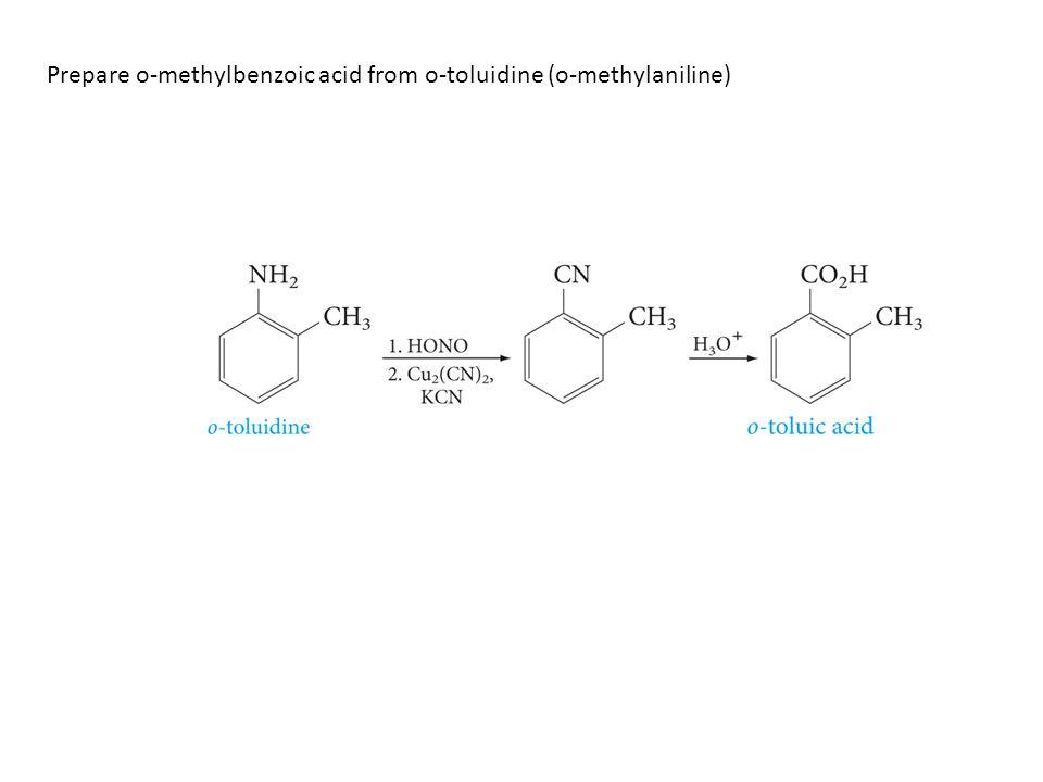 Prepare o-methylbenzoic acid from o-toluidine (o-methylaniline)