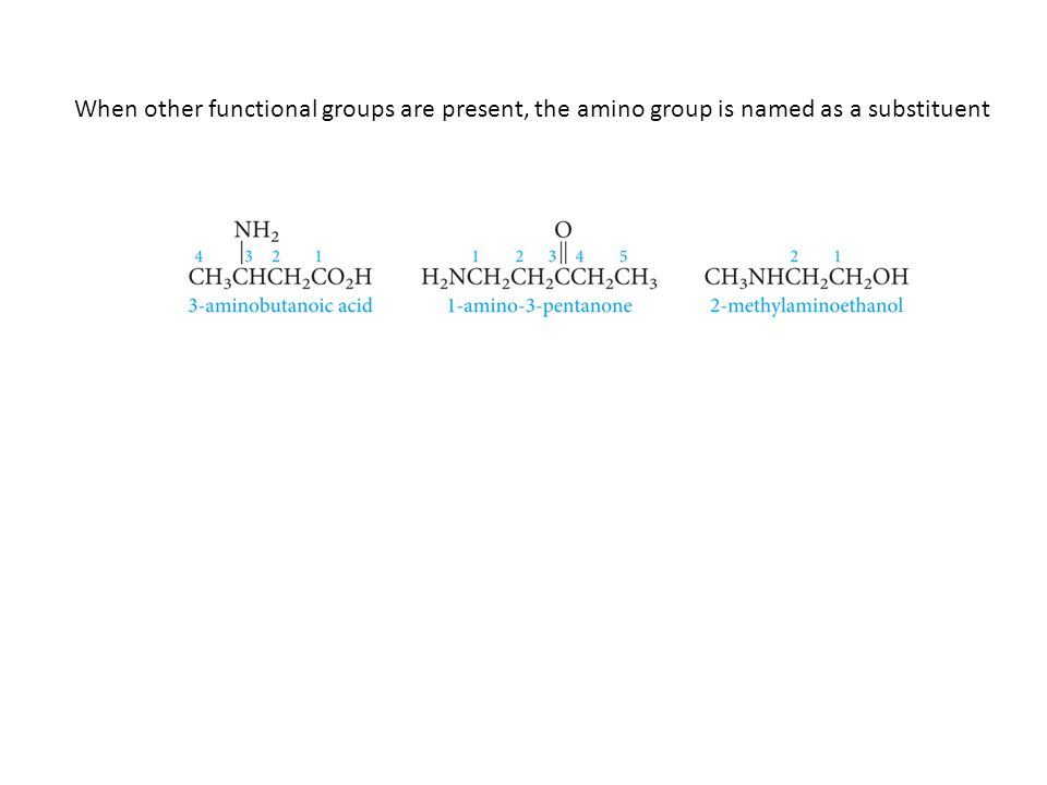 When other functional groups are present, the amino group is named as a substituent