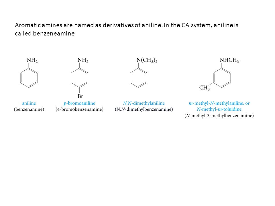 Aromatic amines are named as derivatives of aniline.