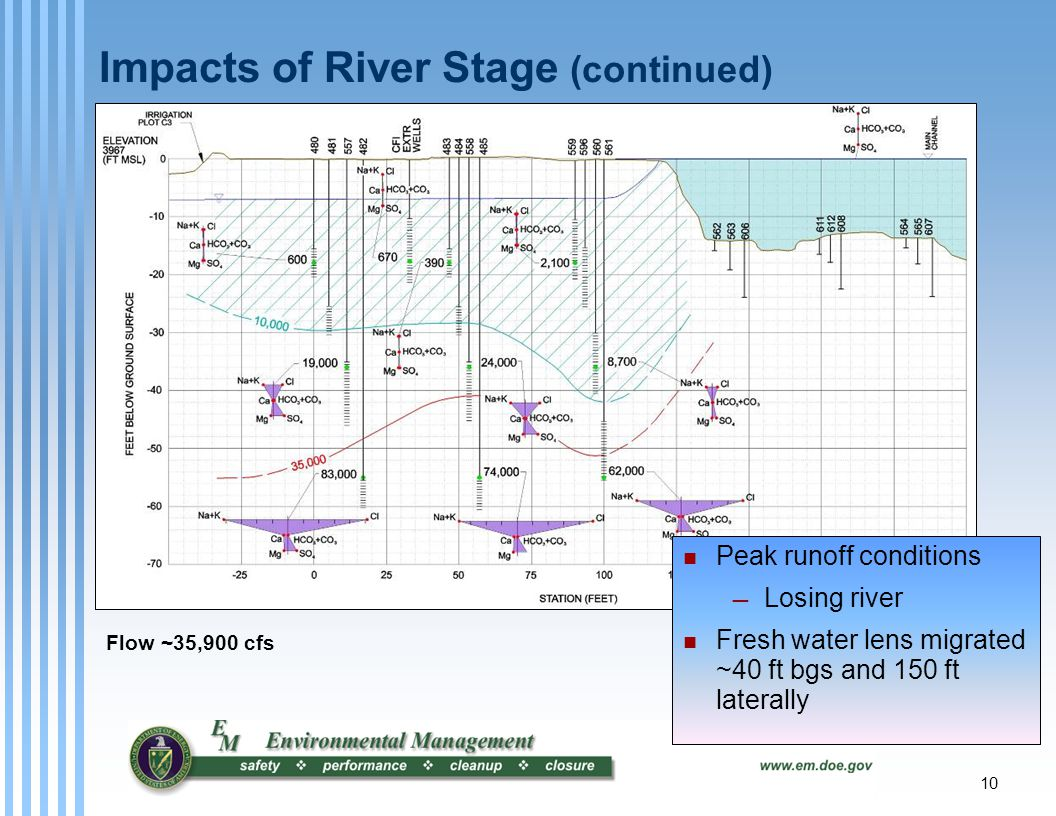 10 Impacts of River Stage (continued) Flow ~35,900 cfs Peak runoff conditions — Losing river Fresh water lens migrated ~40 ft bgs and 150 ft laterally