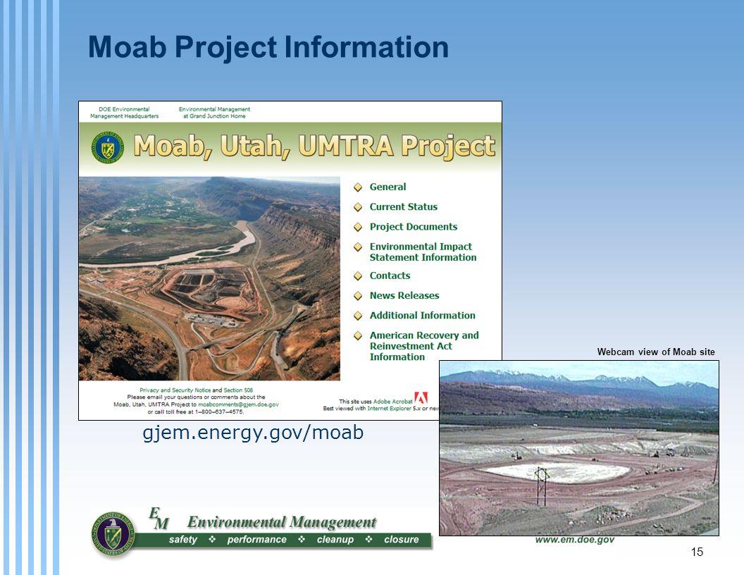 Moab Project Information gjem.energy.gov/moab Webcam view of Moab site 15