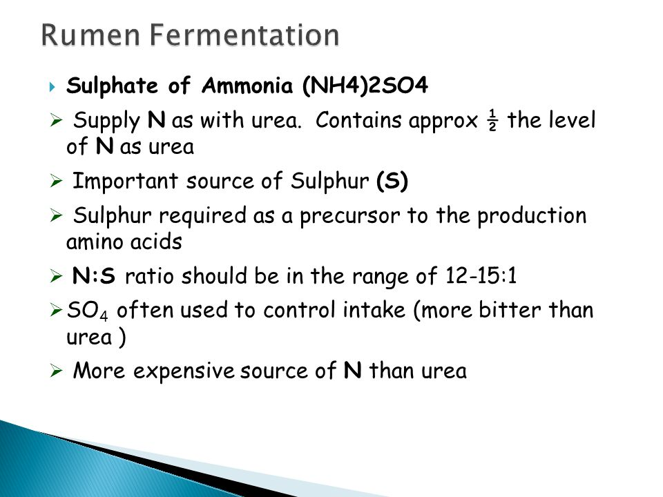  Sulphate of Ammonia (NH4)2SO4  Supply N as with urea.