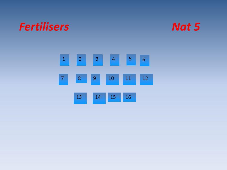 Fertilisers Nat 5 1234 5 6 789101112 13141516