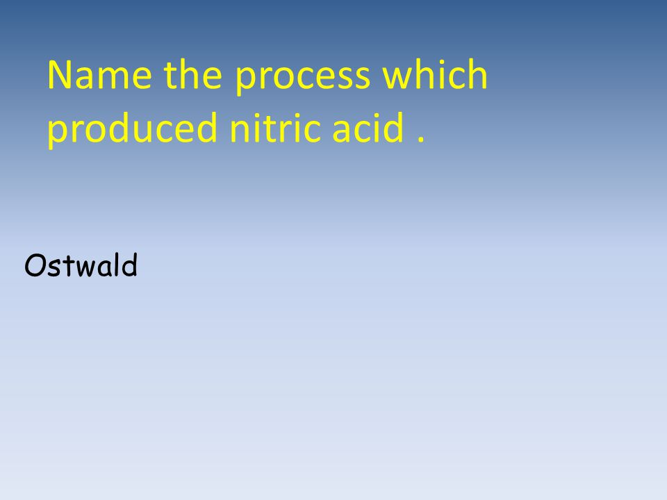 Name the process which produced nitric acid. Ostwald