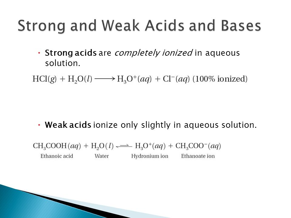  Strong acids are completely ionized in aqueous solution.