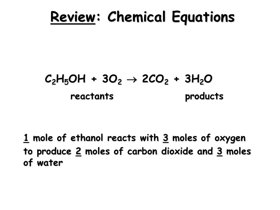 Review: Molar Mass A substance's molar mass (molecular weight) is the mass in grams of one mole of the compound. CO 2 = 44.01 grams per mole H 2 O = 1