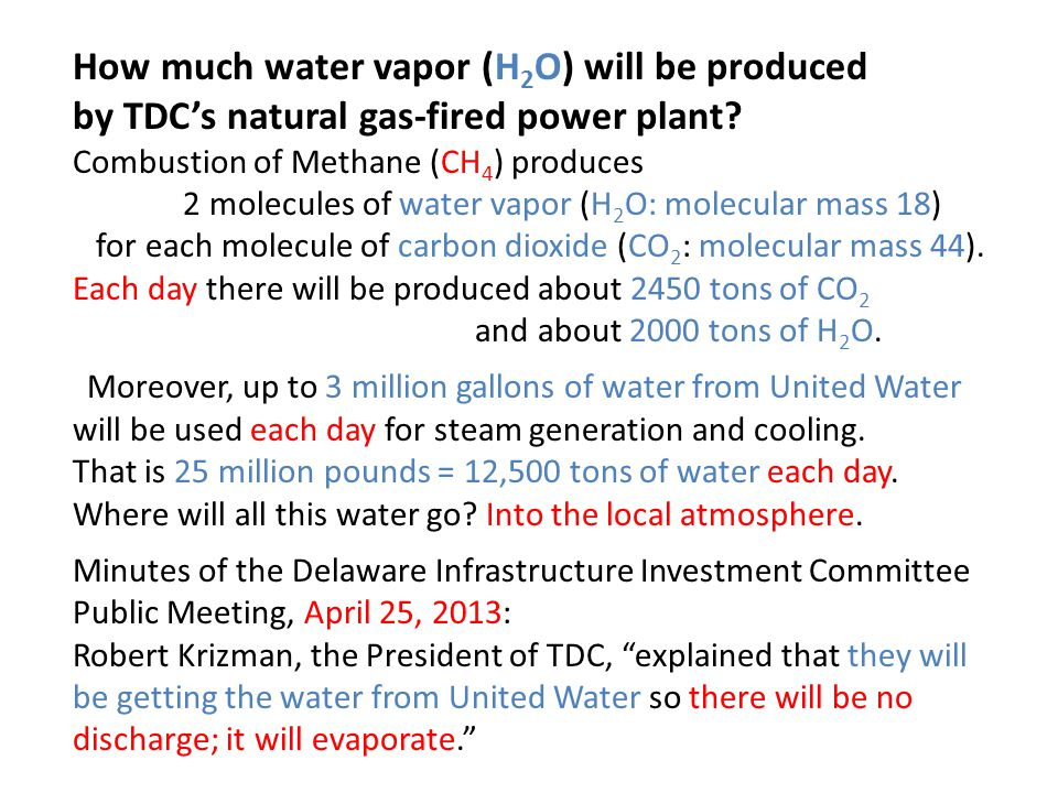 How much water vapor (H 2 O) will be produced by TDC's natural gas-fired power plant.