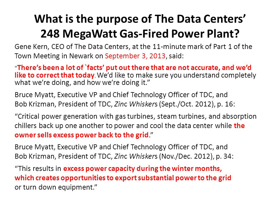 What is the purpose of The Data Centers' 248 MegaWatt Gas-Fired Power Plant.